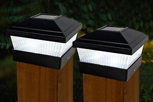 2PK SUPER BRIGHT SOLAR POWERED POST LIGHTS LED GARDEN FENCE LIGHT WATERPROOF