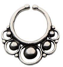 Brass Faux septum nose ring clicker body jewelry piercing prong ear lip w136