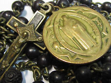 † SCARCE BLESSED PRIESTS ANTIQUE ST BENEDICT MEDAL EXORCISM & BUY 1700s ROSARY †
