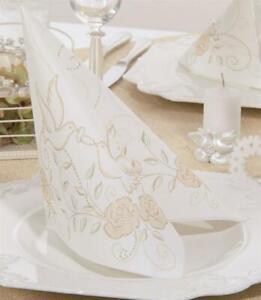 50 Mank Airlaid Ornaments Servietten Hochzeit creme gold 40x40 cm Stoffoptik