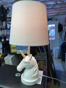 Table Lamp Shabby Chic Unicorn White for Kids Room Bedroom