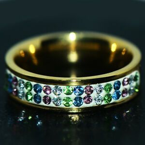 Rainbow Gold Ring Womens Ring Girls Rings Crystal Fashion Accessory Size 8