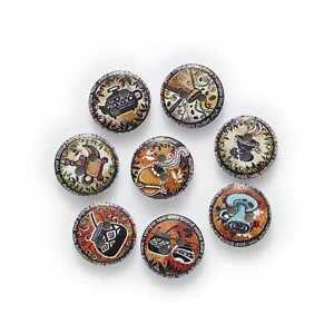50pcs Retro Printing Wood Buttons for Sewing Scrapbooking Handwork Decor 15mm