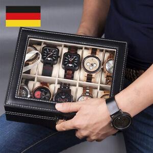 Uhrenkoffer Uhrenbox 10 Uhren Uhrenschatulle PU Leder Watch Schmuck Anzeigefeld