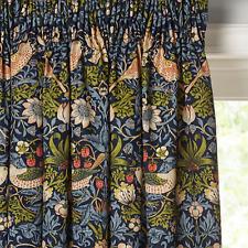 Morris & Co. Strawberry Thief Lined Pencil Pleat Curtains Indigo W167cm D182cm