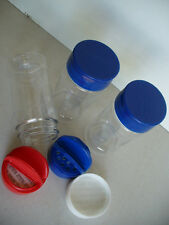SPICE JARS 8 oz PATRIOTIC RED WHITE BLUE CLEAR PLASTIC LOT OF 3 SHAKER SPOON 8oz