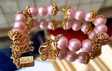 ~ Rare! VTG YSL Yves Saint Laurent Paris Gold Violet Pink Beaded BRACELET Signed