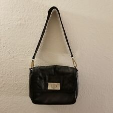 Authentic KATE SPADE Black Leather Shoulder Turn Lock Bag w/ Detachable Strap