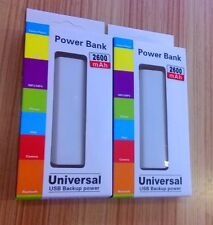 2 New Power bank 2600mah, Rechargeable Battery, Portable Charger. With Box, Usb