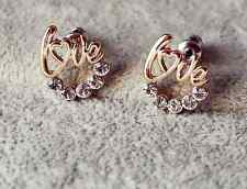 BN Gold White Crystal Piercing Jewellery Circle Love Earring Pair Set Jewelry