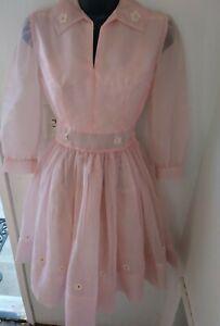 Vintage 50's Girls Dress Chiffon Crinoline Slip Pink Flower Girl Size 7/8