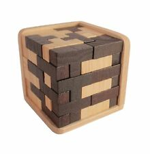 Wooden Intelligence Game 3D Wood IQ Puzzle Brain Teaser Magic Tetris Cube 54 pc