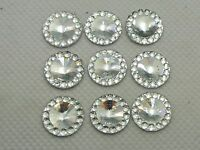 200 Clear Acrylic Flatback Round Rhinestone Gem 12mm Rivoli Center