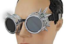 Men Costume Black Silver Steampunk Goggles Punker Fashion Hard Plastic Spikes