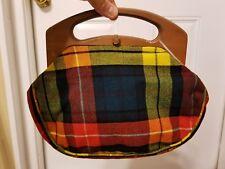 Vintage PLAID Purse Handbag w/ Wood Teak Handles!