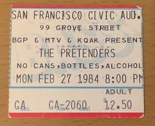 1984 The Pretenders Alarm San Francisco Concert Ticket Stub Learning To Crawl