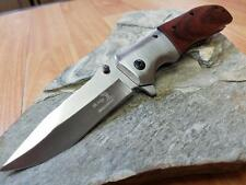 "Elk Ridge Maple Wood Folding Assisted Open Pocket Knife EDC Satin 8"" A165NW"