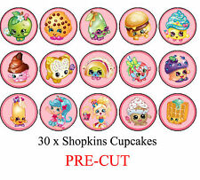 30 Shopkins Edible Cupcake Toppers Party Cake Food Decoration- PRE CUT