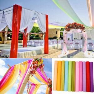 10M Wedding Backdrop Gauze Curtain Organza Fabric Wedding Party Table Decor HOT