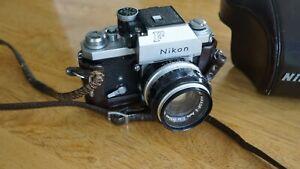 Vintage Nikon F Photomic FTN 35mm SLR Camera  w/ 1.4 50mm Lens w/ Leather Case