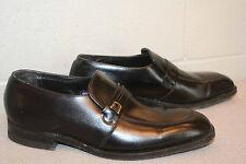 8.5 D Vtg 70s Belted Logo Florsheim Loafers Mens Black Leather Slip-On Shoe