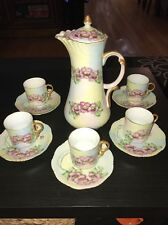 JPL Jean Pouyat Limoges Chocolate Pot Set 1907 Hand painted AL Klinkhamer