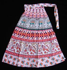 Girl Fashion clothing INDIAN COTTON HAND BLOCK PRINT WRAP AROUND SARONG SKIRT 4