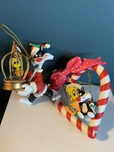 Vintage Looney Tunes Sylvester And Tweety Loose Christmas Ornaments Lot