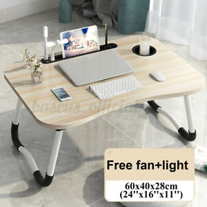 Foldable Laptop Table Tray Desk W/Cooling Fan & Light Tablet Desk Stand Bed Sofa