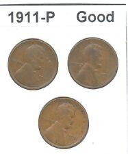 """**Lot of 3** - """"1911-P"""" - LINCOLN WHEAT CENT PENNY - """"Good"""""""