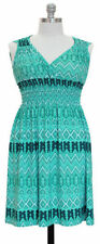 Jon & Anna M Women's Aqua Chevron Sleeveless Surplice Knee-Length Dress