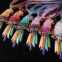 Mode Frauen Strass Papagei Feder Kristall Kette Anhänger Halskette Schmuck