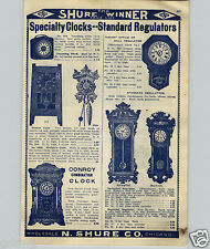 1908 PAPER AD Waterbury New Haven Calendar Regulator Wall Clock Arion Office
