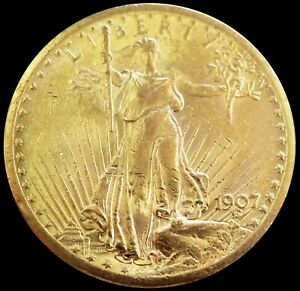 1907 NO MOTTO GOLD USA $20 SAINT GAUDENS DOUBLE EAGLE COIN ABOUT UNCIRCULATED