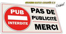 Autocollant sticker PAS DE PUBLICITE - STOP PUB boite aux lettres lot de 2 ex