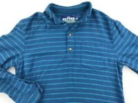 The Nutter By Chubbies Mens Polo Shirt Blue Striped Long Sleeves Pocket Cotton M