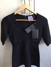 HERVE LEGER JOELLE BLACK BODYCON FORM FITTING SHORT SLEEVE TOP NEW WITH TAG XS