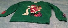 Ugly Christmas Sweater Marisa Christina Santa Clause Green Womens Petite S(C1)