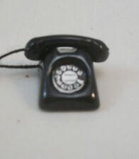 Telephone / Dial - Black Phone  dollhouse miniature furniture  D5371  metal