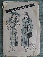 Misses Button-Down DRESS RARE Retro VINTAGE BUTTERICK 3418 Fabric Sew Pattern