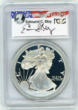 1996-P $1 Proof Silver Eagle PCGS PR70 Ed Moy Signed Red White and Blue Label