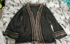 Vintage Wool Fairisle detail Cardigan Grey Approx Size 12 bell sleeve