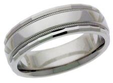 Platinum 14k 10k silver white gold wedding band ring facet cut mens milgrain 5mm
