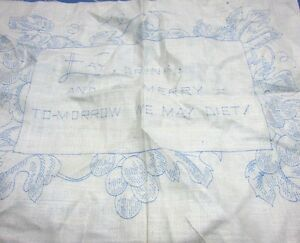 Stamped Embroidery Linens Sampler Eat Drink Be Merry Art Deco Gorgeous Vintage