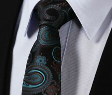 Mens Tie in Teal Turquoise Green & Brown Floral Satin Black Paisley Gift