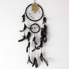 NEW BLACK FEATHER DOUBLE DREAM CATCHER NATIVE AMERICAN WALL HANGING MOBILE R104