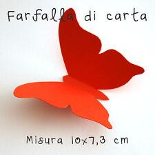 10 Farfalle 3D Rosse di carta lavorate a mano 10x7,3 cm