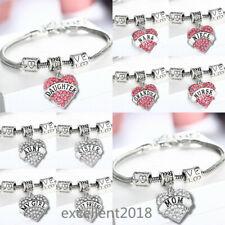 Women Heart Family Friend Love Crystal Adjustable Chain Bangle Charm Bracelet