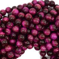 """Magenta Tiger Eye Round Beads Gemstone 15.5"""" Strand 4mm 6mm 8mm 10mm 12mm"""