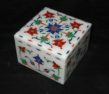 "4""x4""x2.5"" Italian Marble Square Jewelry Box Floral Inlay Mosaic Beautiful Gifts"